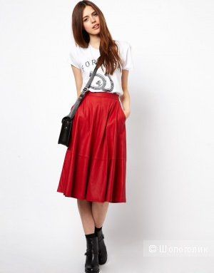 Кожаная юбка миди с карманами ASOS