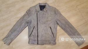 Новая мужская кожаная куртка River Island Grey Biker Leather Jacket - М