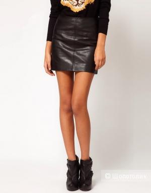 Кожаная мини юбка Asos