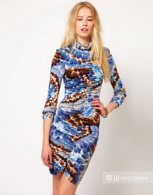 Traffic People Feather Print Ruched Dress / размер С