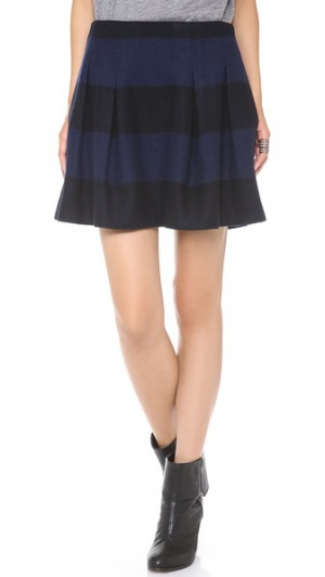 Шерстяная полосатая юбка Madewell Mayle размер 4us темно-синий с черным.