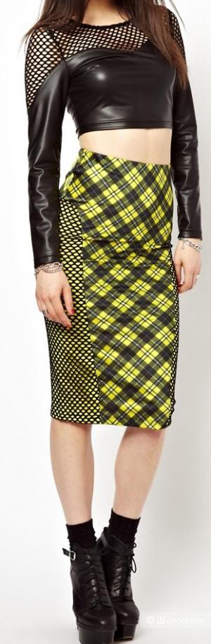 """Классная стильная яркая юбка-карандаш от Jaded London с принтом """"тартан"""""""