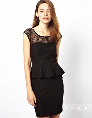 Черное платье с баской, размер L