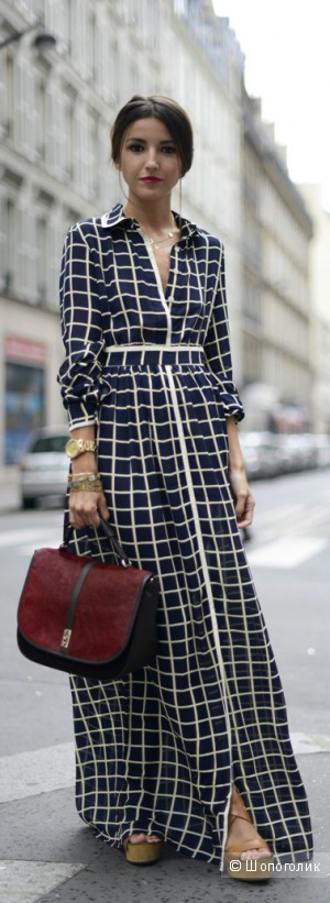 Платье макси с решетчатым принтом Jovonnista Gino
