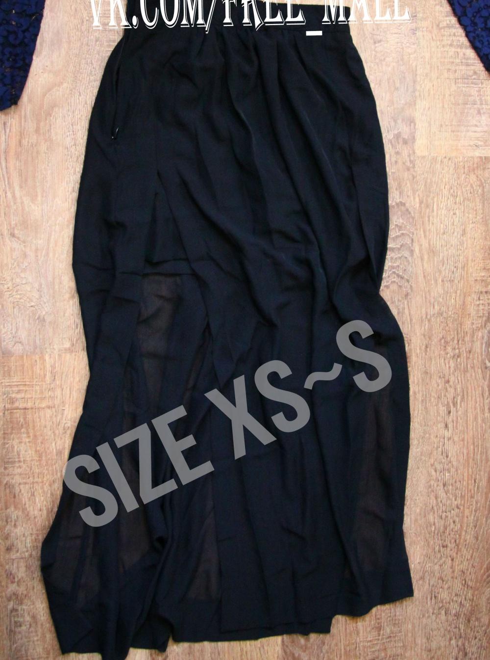Новая шифоновая черная юбочка Sheinside с разрезами по бокам 42р-р, S