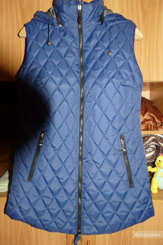 Стеганый синий жилет 48 размер