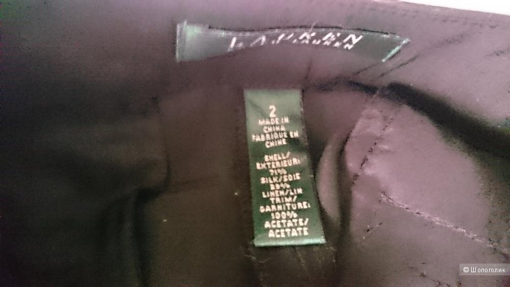 Lauren Ralph Lauren Женские черные шелк+лен брюки 2