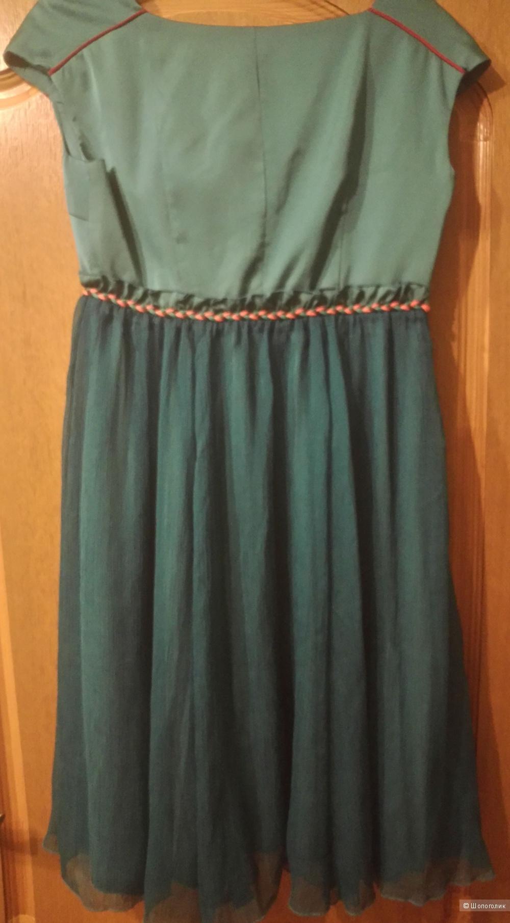 Легкое шифоновое платье с вышивкой, красивый изумрудный цвет, Liebo