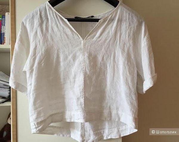 Льняная белая блузка/рубашка Zara размер S, можно на М.