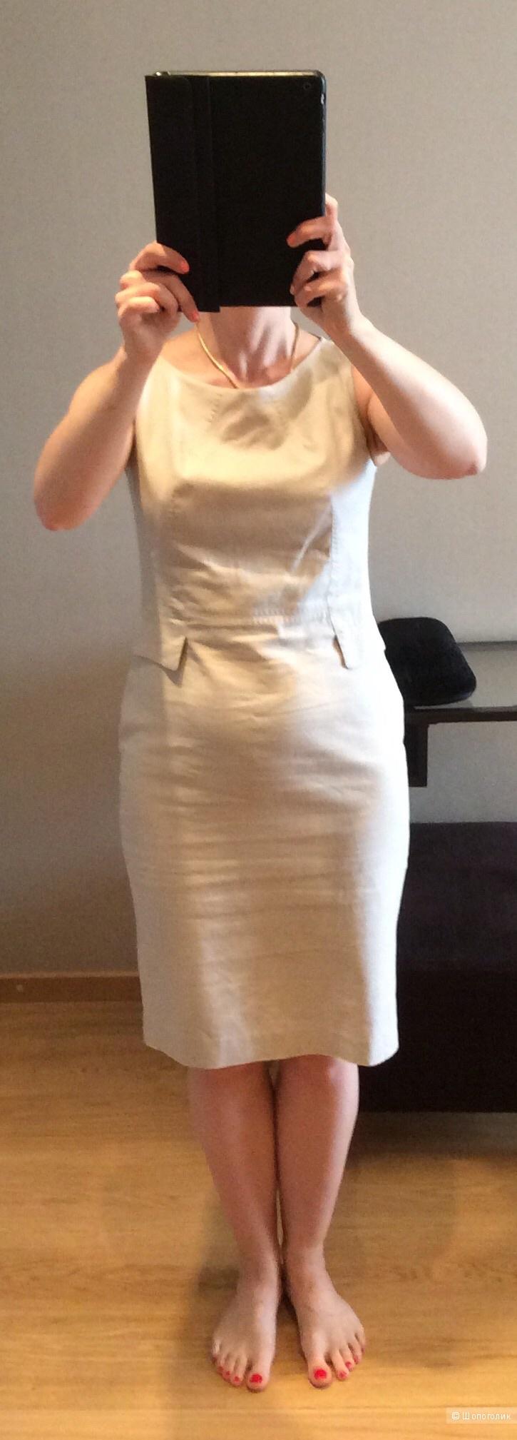 Льняное платье-футляр р.46