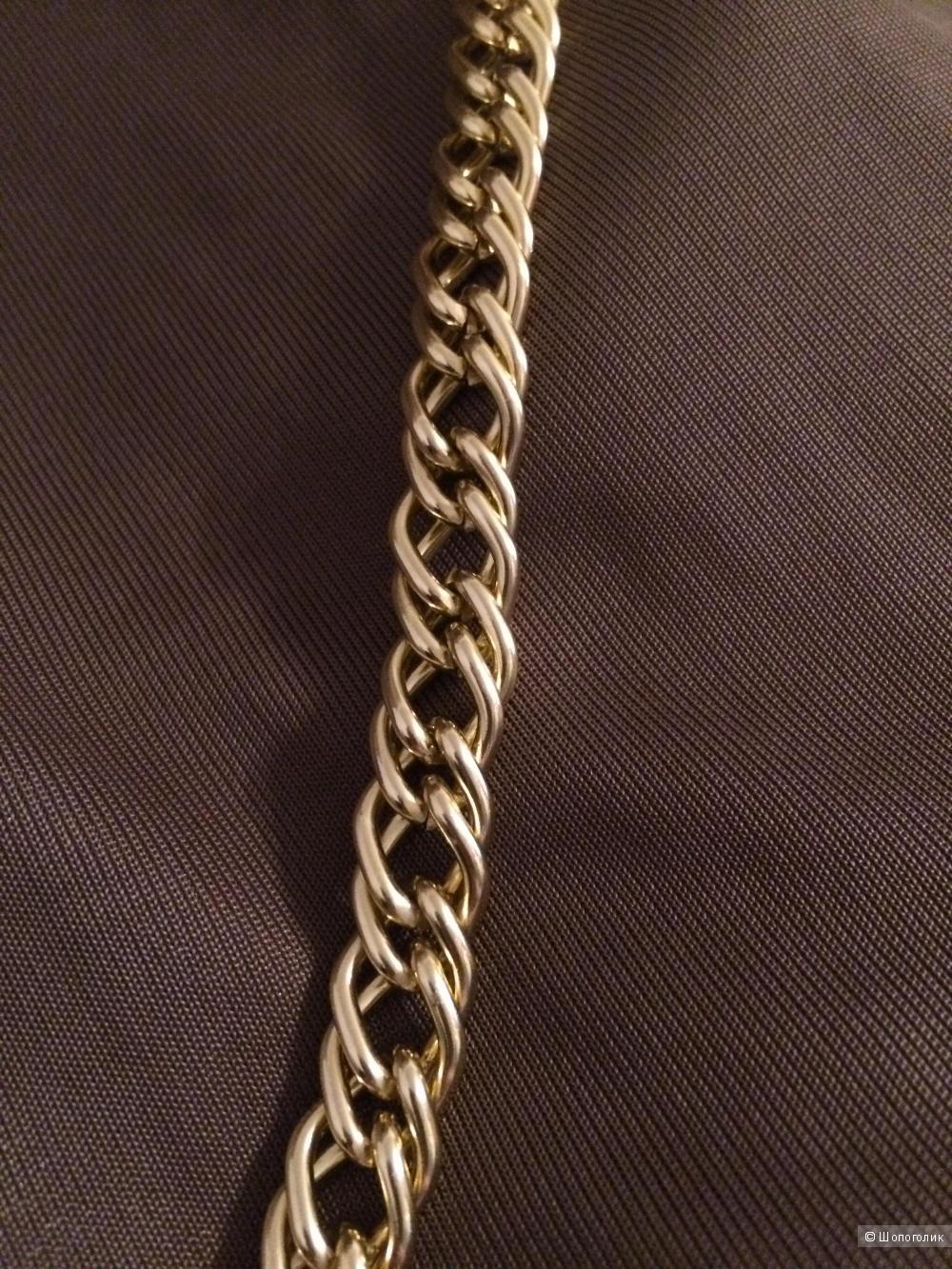Новое оригинальное платье кофейного цвета с цепями, размер S