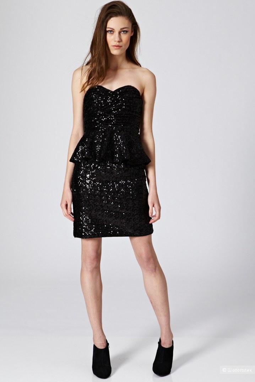Мини-платье с баской из ткани с пайетками Rare Opulence England