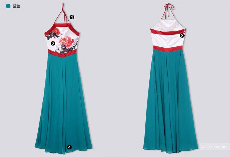 Нарядное летнее платье атлас с шифоном, длинное, красиво, нежно, LIEBO
