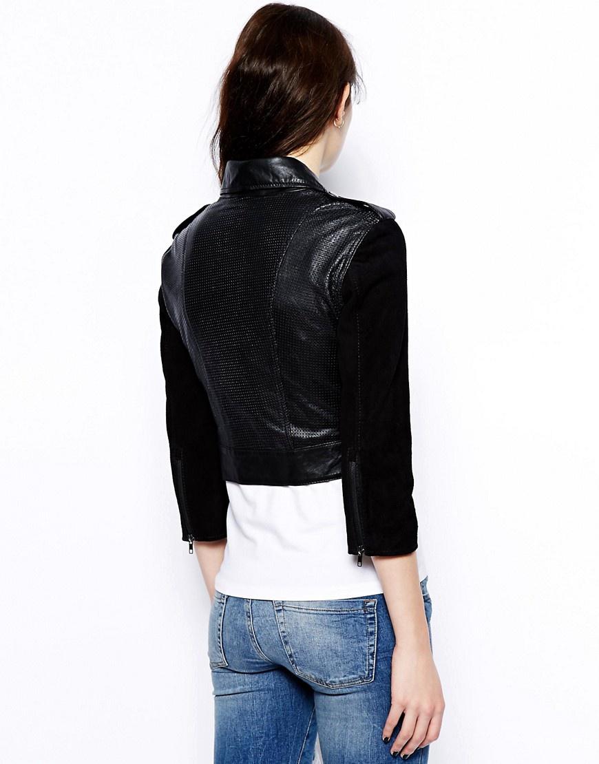 Кожаная куртка с замшевыми рукавами Barneys Originals UK12 новая