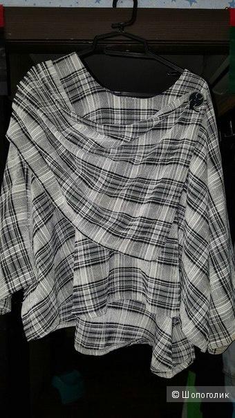 Пончо черно-белого цвета в клетку (Luba made in Germany)