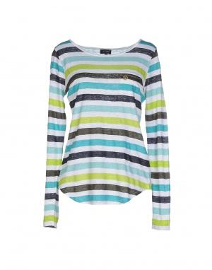 Летний свитер из 100% льна ARMANI JEANS,в бирюзовую полоску, размер 48 (Российский размер) дизайнер: 46 (IT)