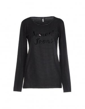 Полосатая футболка с длинным рукавом ARMANI JEANS, черная, размер 48 (Российский размер) дизайнер: 46 (IT)