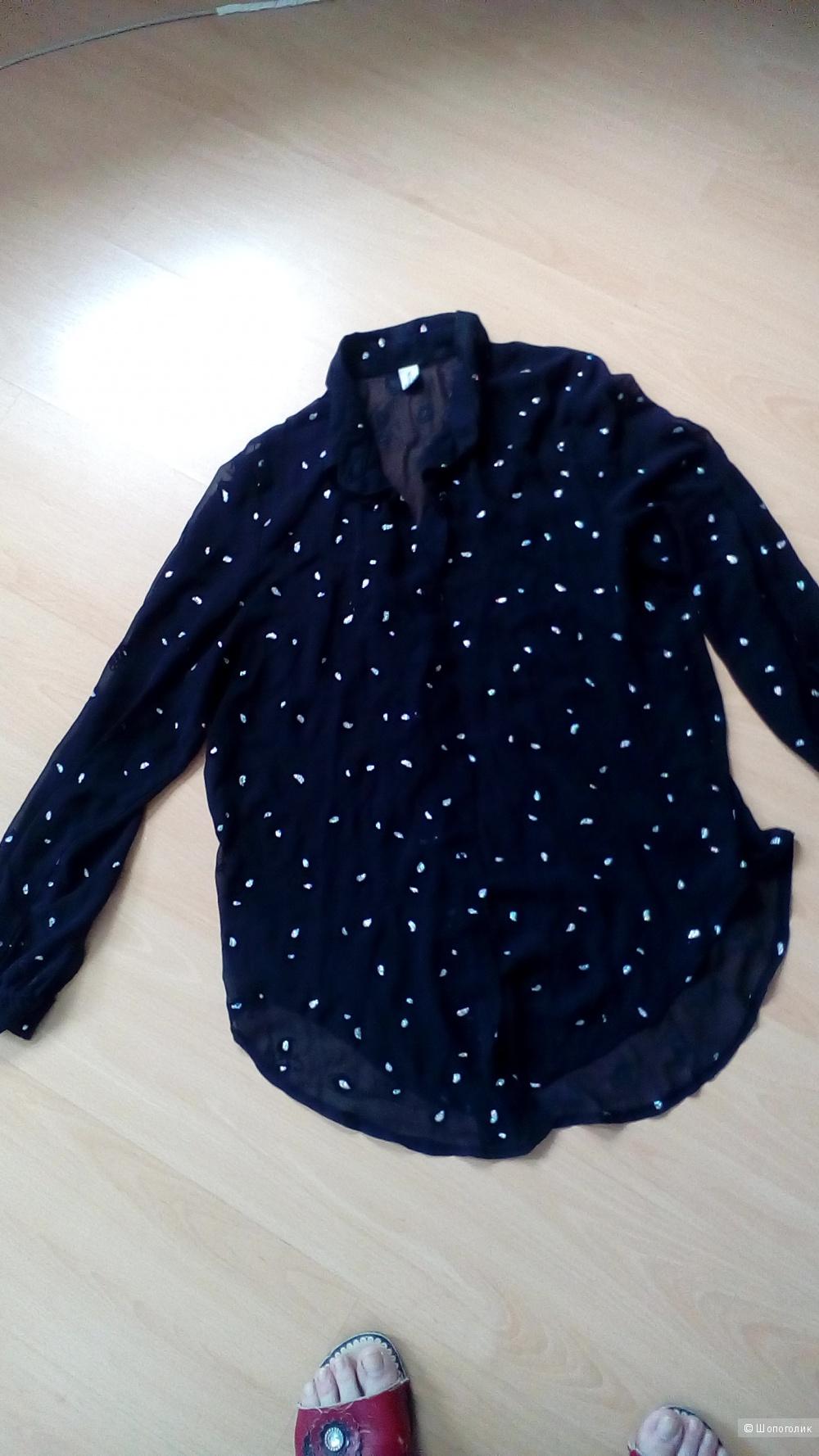Черная шифоновая блуза с принтом