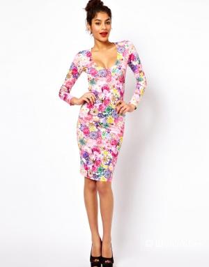 Платье с V-образным вырезом и принтом в виде цветов и драгоценностей ASOS UK8 новое