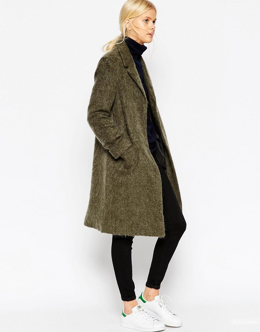 пальто ASOS Coat With Seam Detail In Hairy Wool
