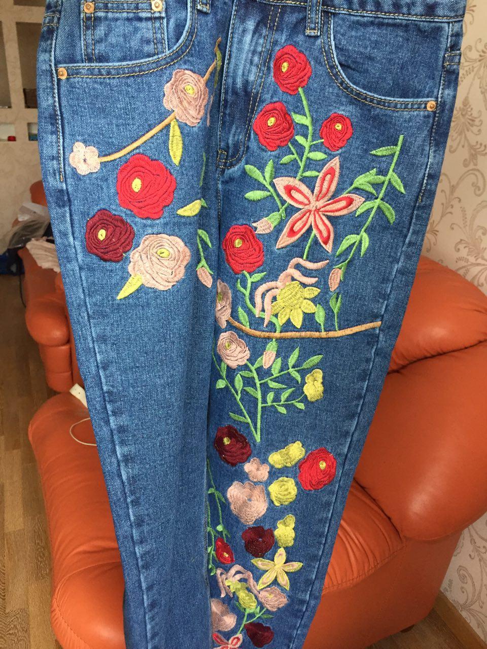Расшитые джинсы (очень красивые) -UK8 (42 рус)