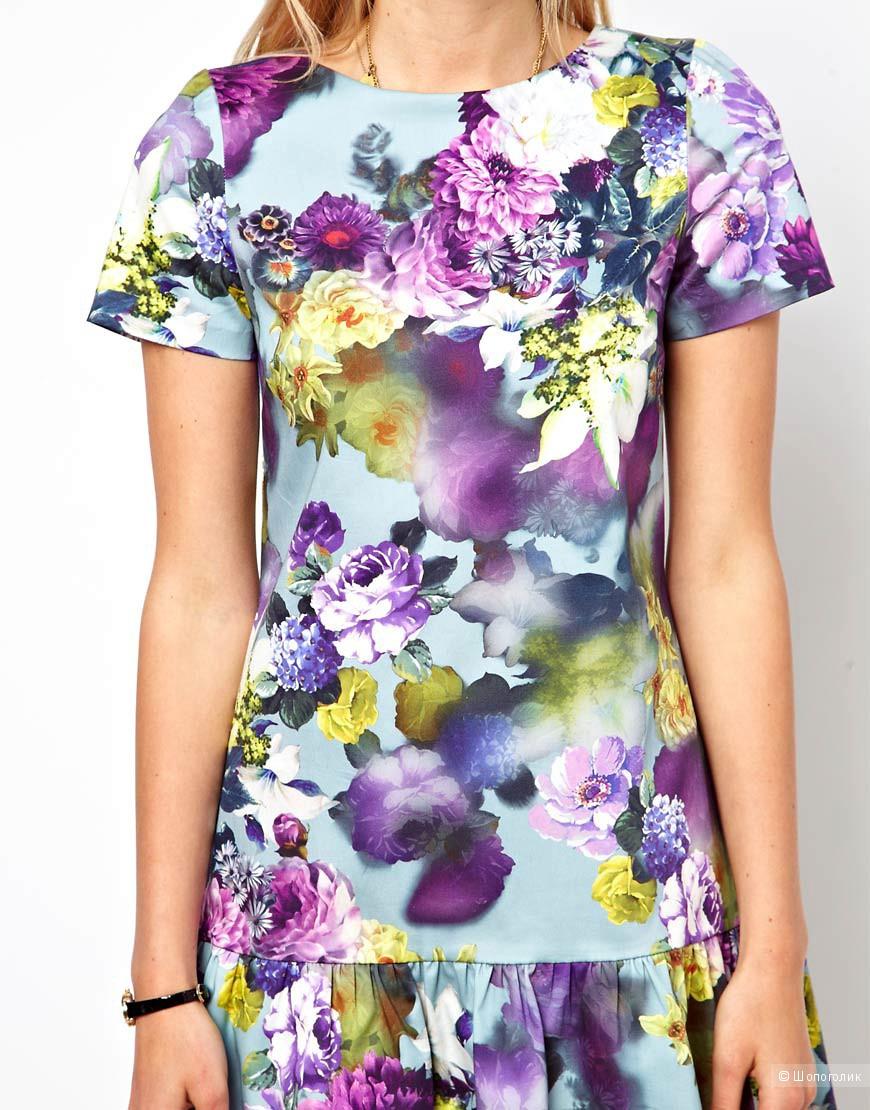 Платье мини с цветочным принтом с заниженной талией ASOS UK8 новое