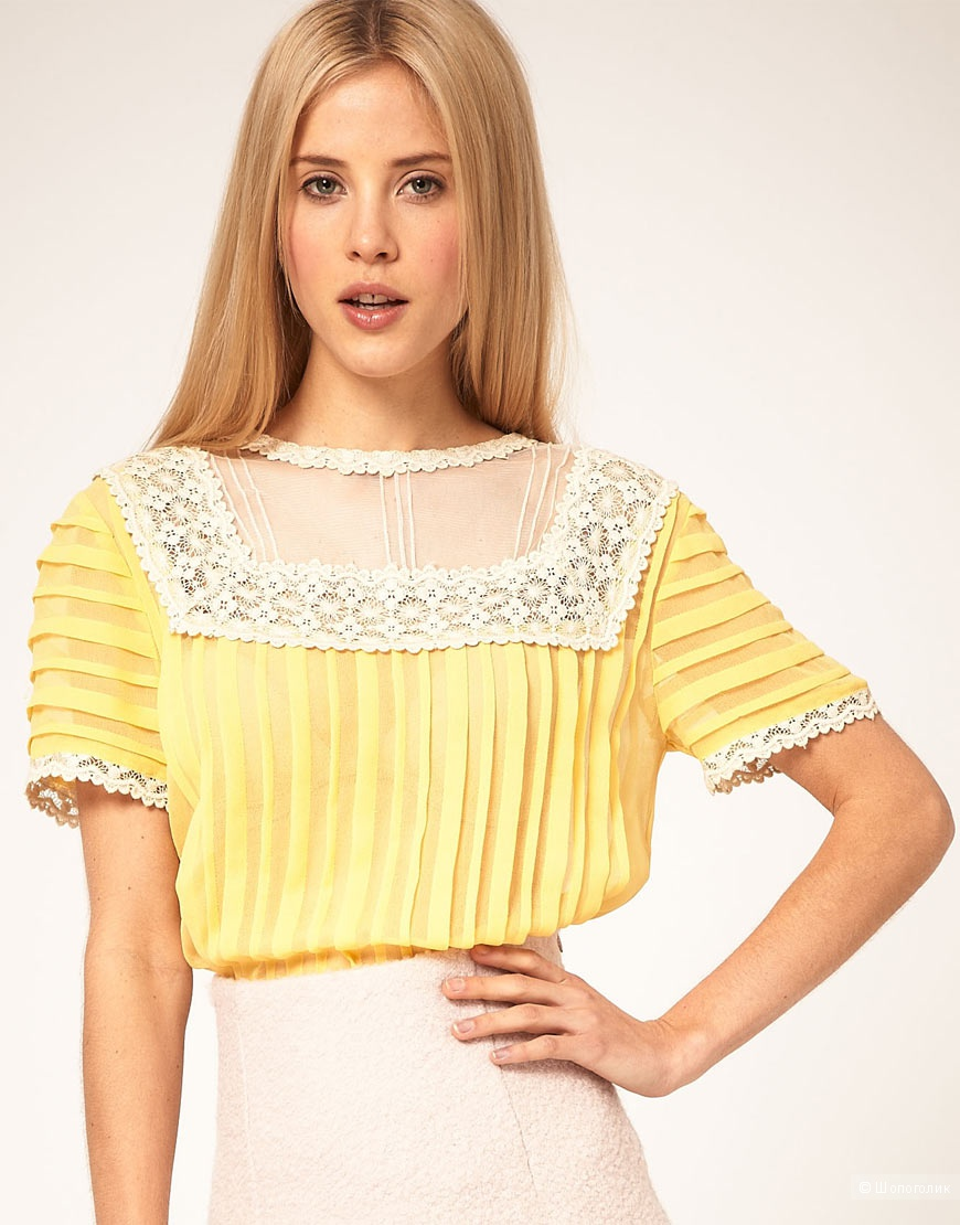 Asos blouse with pleating and lace yoke UK 10 / рр 42-44