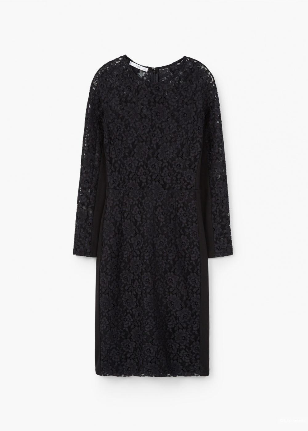 НЕпрозрачное гипюровое Миди-платье  Mango