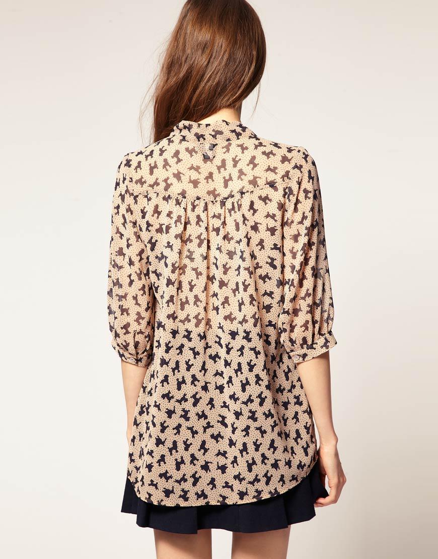 Блуза с пуделями Asos