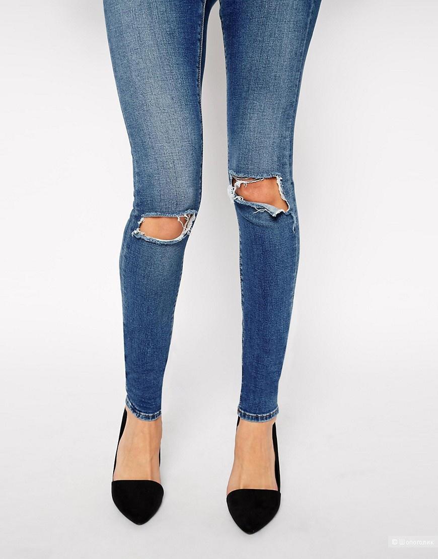 Потертые синие джинсы скинни с рваными коленями ASOS Ridley