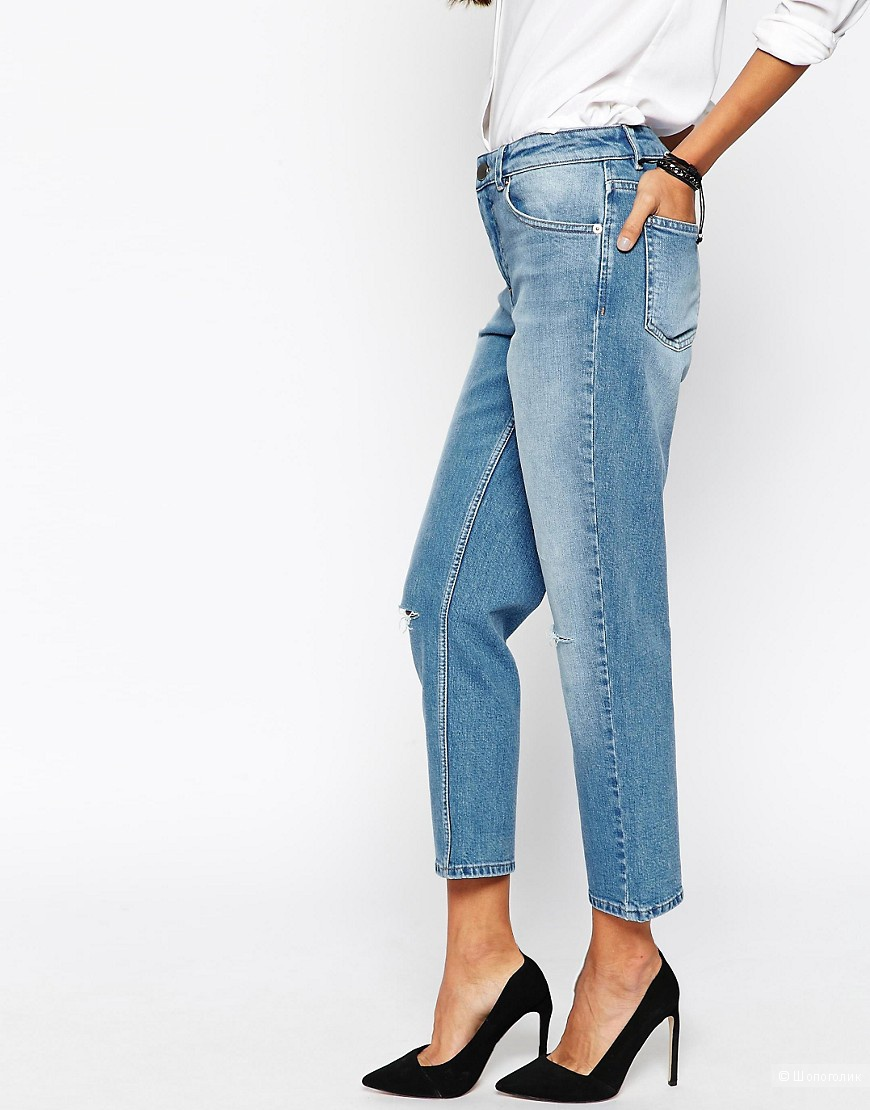 Джинсы винтажного голубого цвета Girlfriend Jeans ASOS PETITE