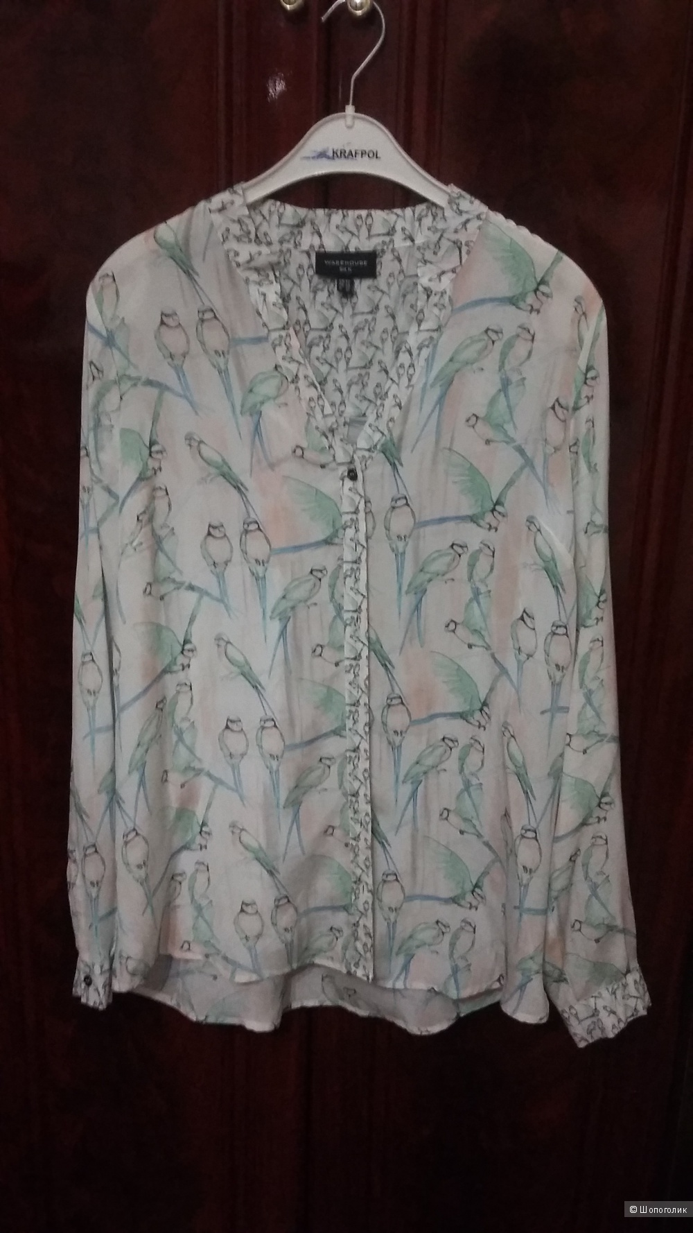 Шелковая рубашка с птицами