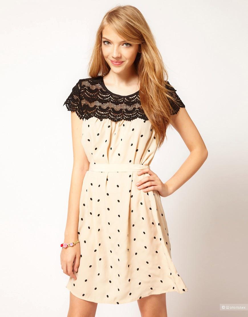 Серое платье в горох Darling, размер L