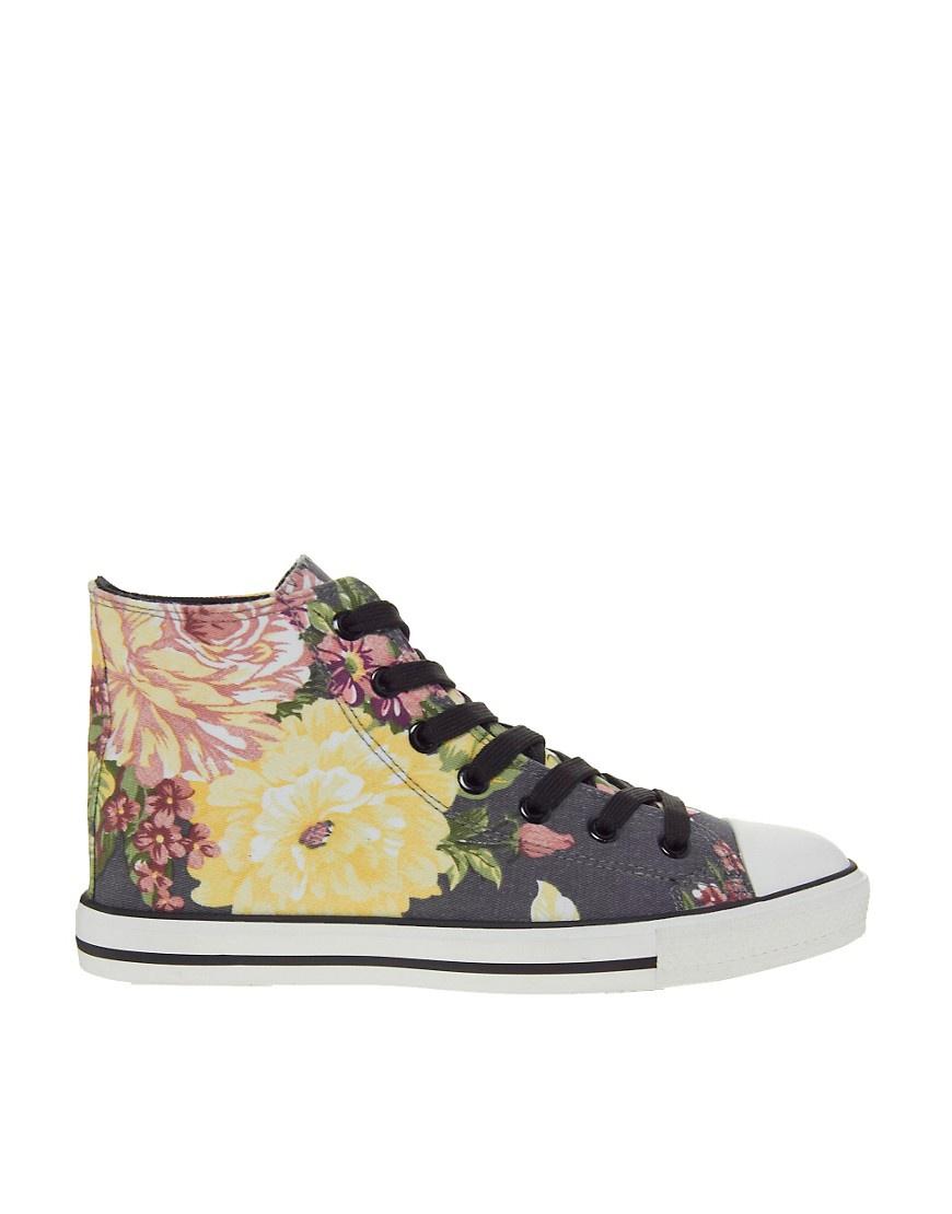 Высокие кеды с цветочным принтом New Look UK4 новые
