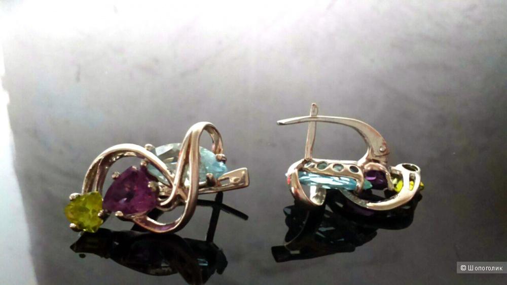 Серебряный комплект серьги и кольцо