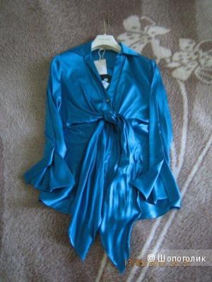 Шелковая блузка Aplomb, 42IT, цвет морской волны, новая, с этикеткой