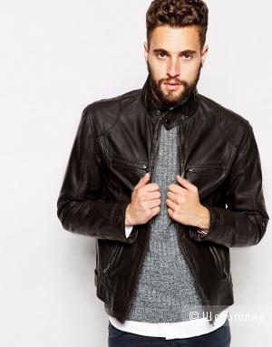 Новая мужская кожаная куртка Barney's Leather Biker Jacket - Brown / XL, на рос. 52-54 и рост от 180 см.