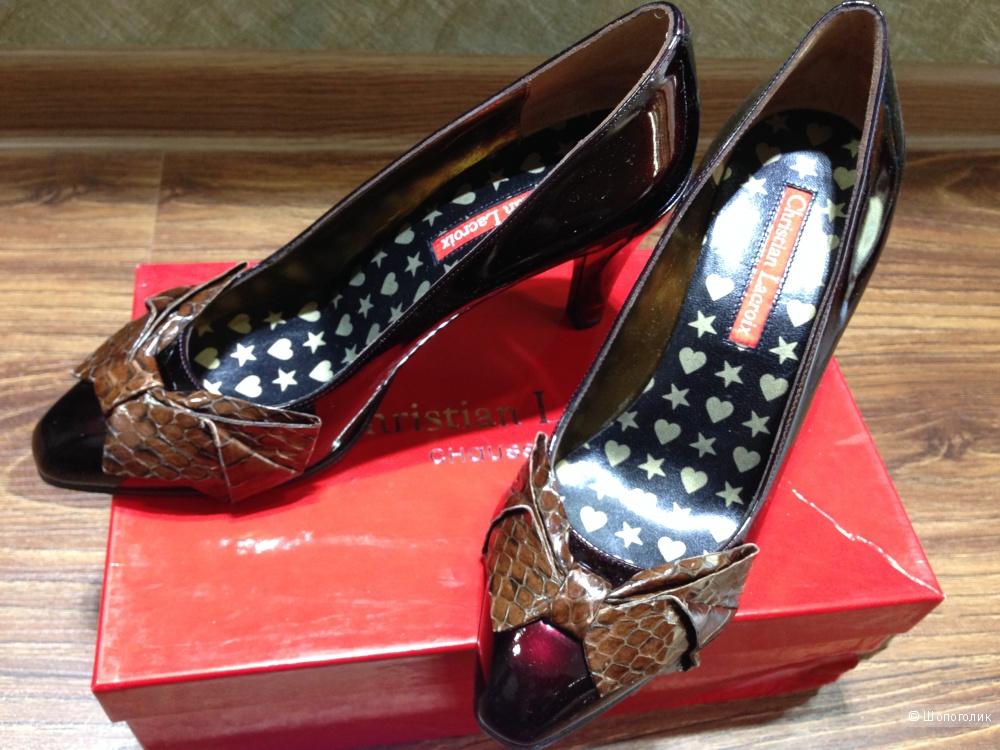"""Christian Lacroix туфли от кутюр класса """"люкс"""" с бантами из кожи змеи р.38"""