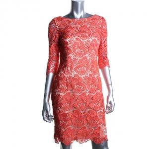 коралловое дизайнерское платье из рельефного кружева Eliza G р.44