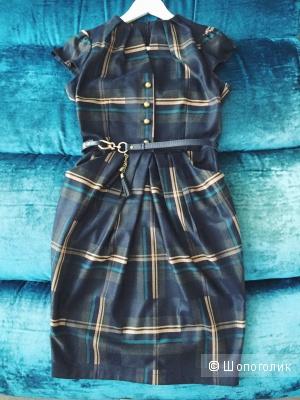 Платье-футляр в клетку шотландку темно-синее новое
