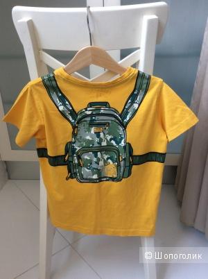 """Прикольная футболка с принтом """"рюкзак"""" на 4-5 лет"""
