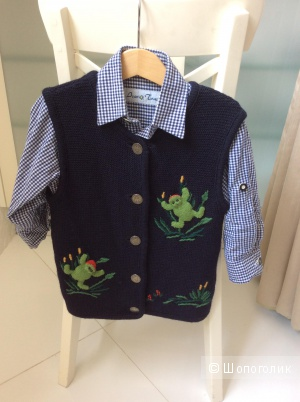 Комплект для мальчика (рубашка+жилетка) в тирольском стиле р.86-100