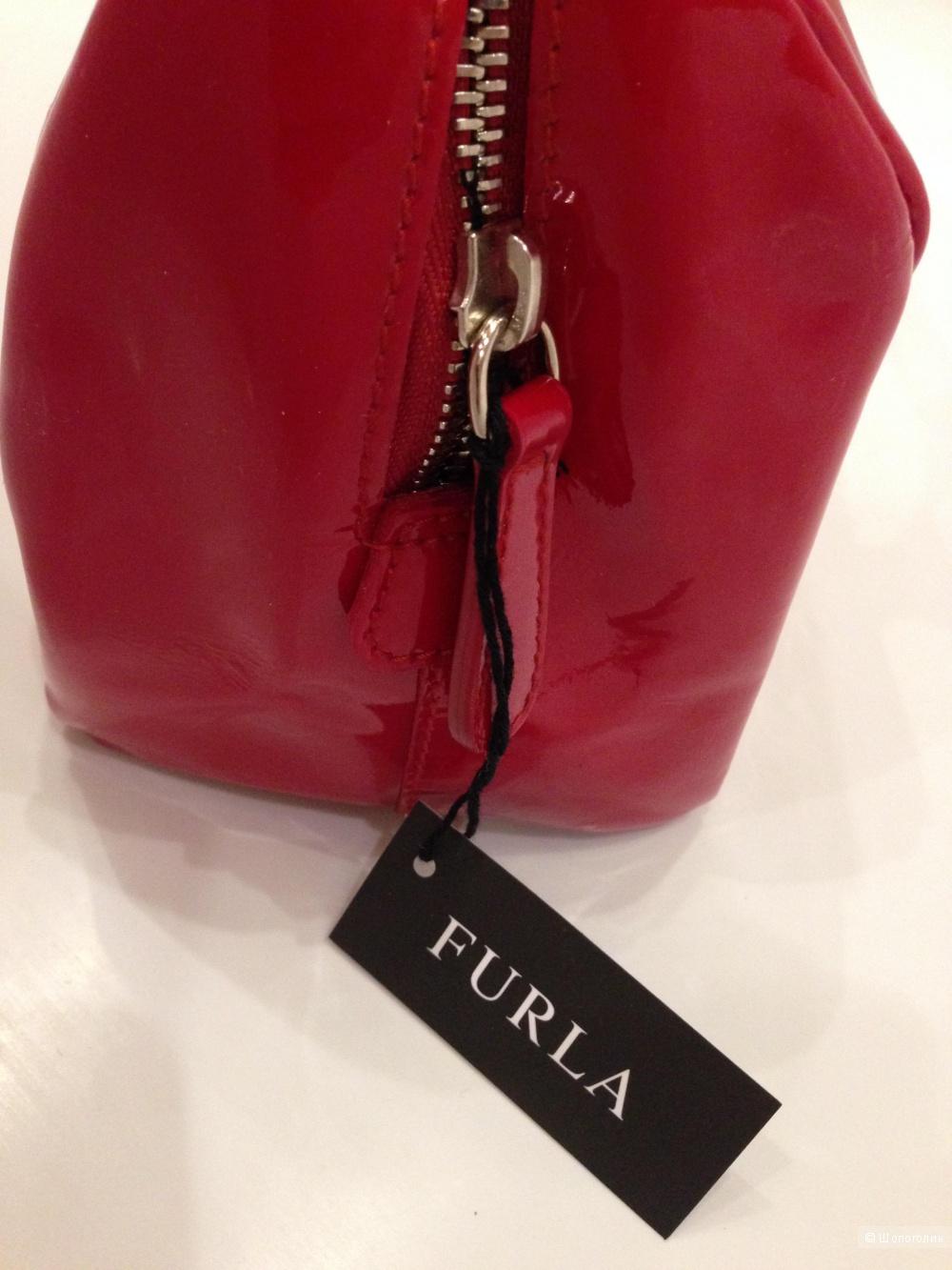 FURLA брендовая маленькая красная лаковая сумка Новая Оригинал