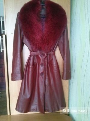 Пальто кожаное с мехом 42-44