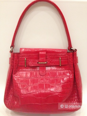 Красивая красная сумка FURLA с тиснением под крокодила