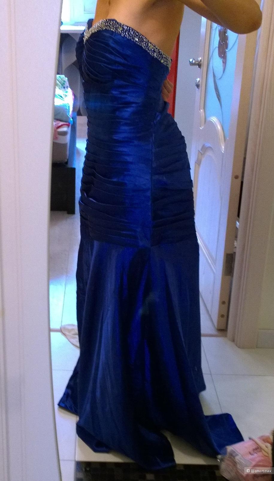 Синее вечернее платье размер 50+