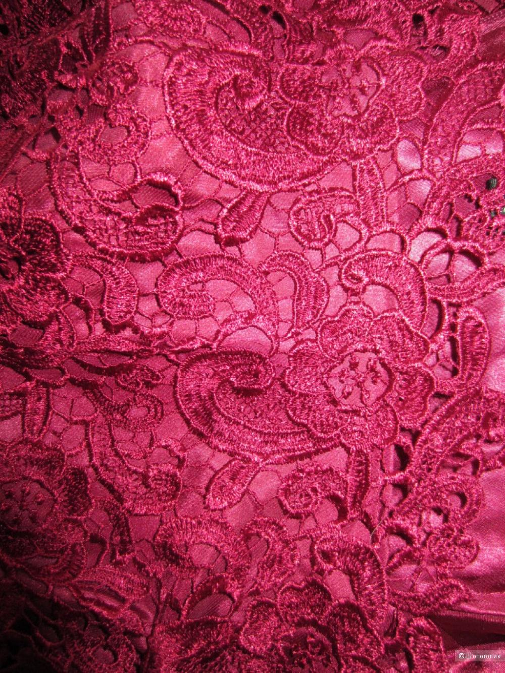 Aidan Mattox платье из ажурного кружева бордо р.44 Новое