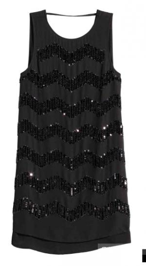Черное платье H&M с паетками