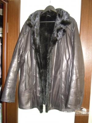 БУ Мужская зимняя куртка из натуральной кожи,  воротник из меха норки р.52