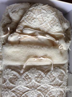 CHEPE Premium шикарный набор из зимнего конверта и чепчика на овчине для ребенка  в коробке.Новый